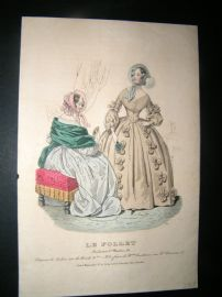 Le Follet C1840's Hand Coloured Fashion Print 830